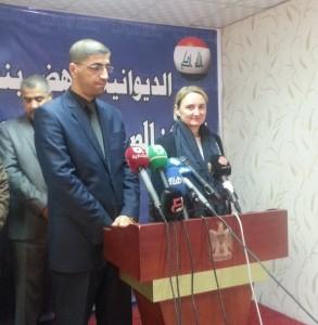 سفيرة الاتحاد الاوربي في العراق ومحافظ الديوانية في مؤتمر صحفي